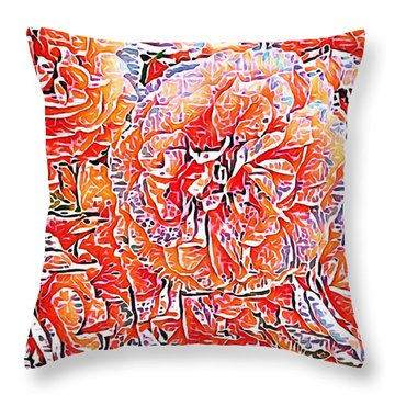 Wild Roses Abstract  Throw Pillow