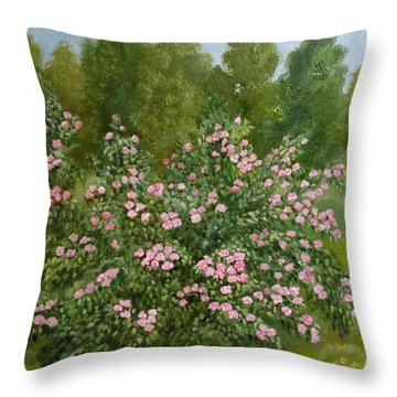 Throw Pillow featuring the painting Wild Roses by Angeles M Pomata