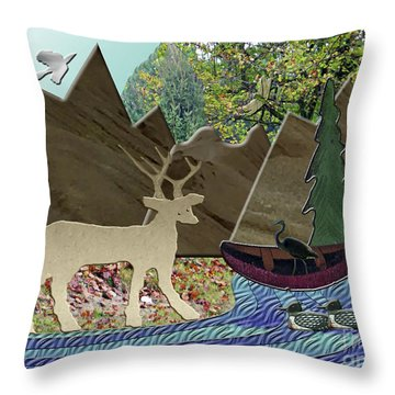 Wild Rural Animals Throw Pillow