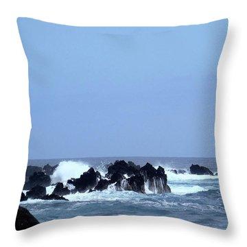Wild Sea In Madeira Throw Pillow