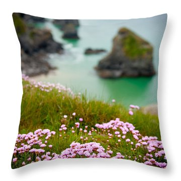 Wild Sea Pinks In Cornwall Throw Pillow