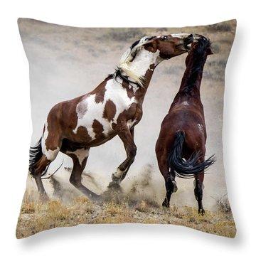 Wild Stallion Battle - Picasso And Dragon Throw Pillow
