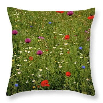 Wild Summer Meadow Throw Pillow