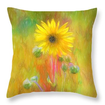 Throw Pillow featuring the photograph Wild Sunflower Digitally Painted Photograph by Clare VanderVeen