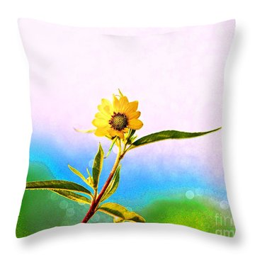 Throw Pillow featuring the photograph Wild Sunflower by Lila Fisher-Wenzel