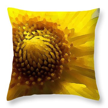 Wild Sunflower Up Close Throw Pillow