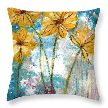 Wild Sunflowers- Art By Linda Woods Throw Pillow