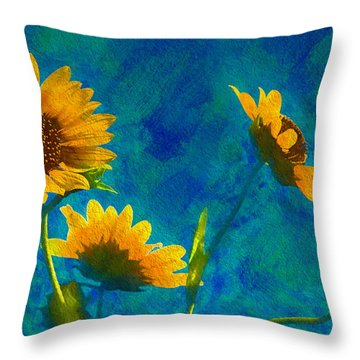 Wild Sunflowers Singing Throw Pillow
