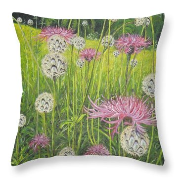 Wild Thistles Throw Pillow