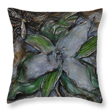 Wild Trillium And Cranefly  Throw Pillow by Dawn Senior-Trask
