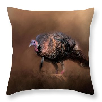 Wild Turkey In The Woods Throw Pillow