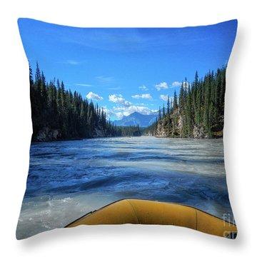 Wild Water Rafting Throw Pillow