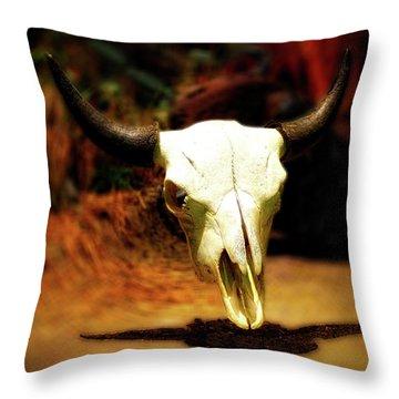 Wild West Bison Skull Throw Pillow