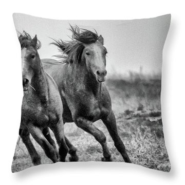 Wild West Wild Horses Throw Pillow by Kelly Marquardt
