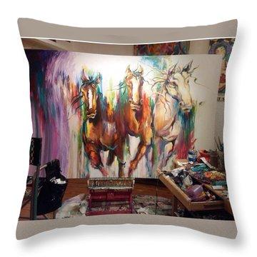 Wild Wild Horses Throw Pillow by Heather Roddy