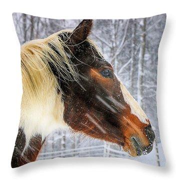 Wild Winter Storm Throw Pillow by Elizabeth Dow
