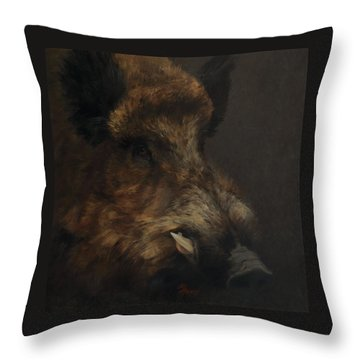 Wildboar Portrait Throw Pillow