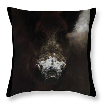 Wildboar With Snowy Snout Throw Pillow