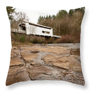 Throw Pillow featuring the photograph Wildcat Bridge In Winter by Mary Jo Allen