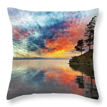 Wildcat Cove In Washington State At Sunset Throw Pillow by David Gn