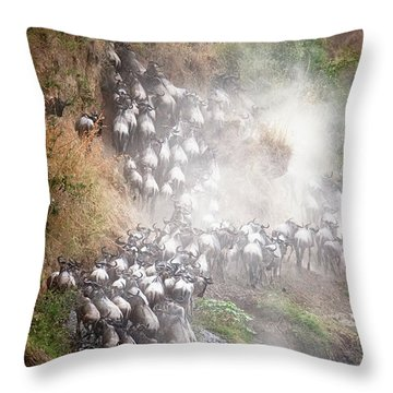 Wildebeest Climbing Up Mara River Bank Throw Pillow