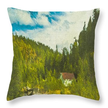 Wilderness Cabin Throw Pillow by Dale Stillman