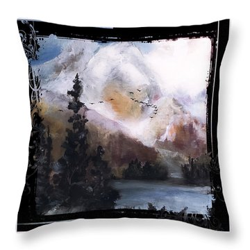 Wilderness Mountain Landscape Throw Pillow