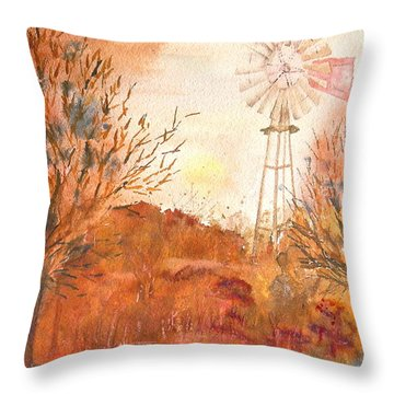 Throw Pillow featuring the painting Wilderness Windmill by Sharon Mick