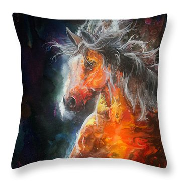 Throw Pillow featuring the painting Wildfire Fire Horse by Sherry Shipley