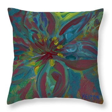 Throw Pillow featuring the painting Wildflower 1 by John Keaton