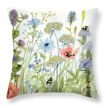 Wildflower And Bees Throw Pillow
