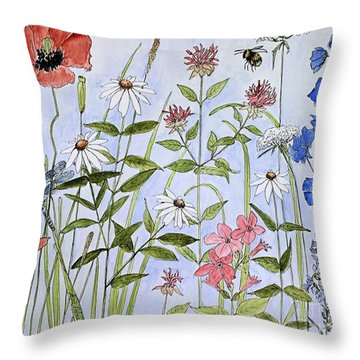 Throw Pillow featuring the painting Wildflower And Blue Sky by Laurie Rohner