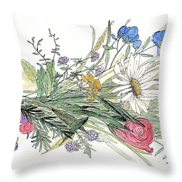 Throw Pillow featuring the painting Wildflower Bouquet by Laurie Rohner