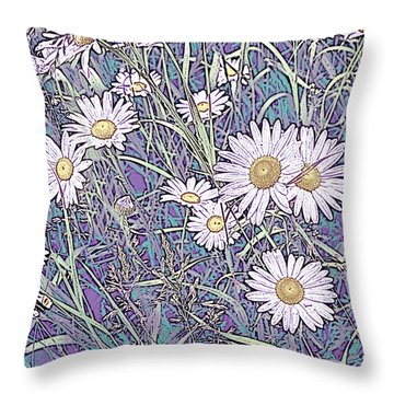 Wildflower Daisies In Field Of Purple And Teal Throw Pillow