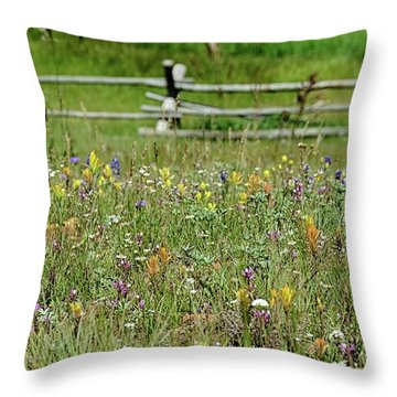 Wildflower Fence Throw Pillow
