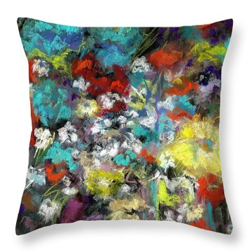 Throw Pillow featuring the painting Wildflower Field by Frances Marino