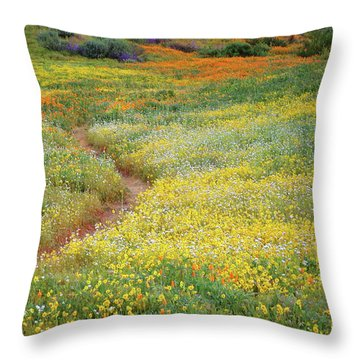 Throw Pillow featuring the photograph Wildflower Field Near Diamond Lake In California by Jetson Nguyen