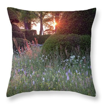 Wildflower Meadow At Sunset, Great Dixter Throw Pillow