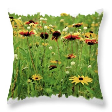 Wildflower Meadow Throw Pillow by JQ Licensing