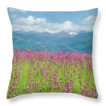Wildflower Meadows And The Carpathian Mountains, Romania Throw Pillow