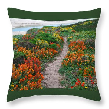 Wildflower Path At Ribera Beach Throw Pillow