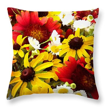Wildflower Riot Throw Pillow