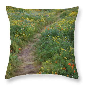 Throw Pillow featuring the photograph Wildflower Trail At Diamond Lake In California by Jetson Nguyen