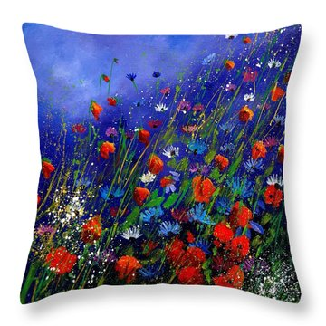 Wildflowers 78 Throw Pillow by Pol Ledent