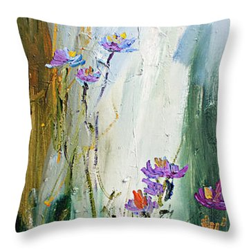 Wildflowers And Bees Oil Painting Throw Pillow