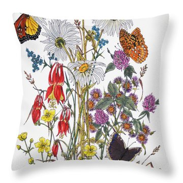 Wildflowers And Butterflies Of The Valley Throw Pillow