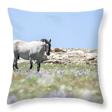 Wildflowers And Mustang Throw Pillow