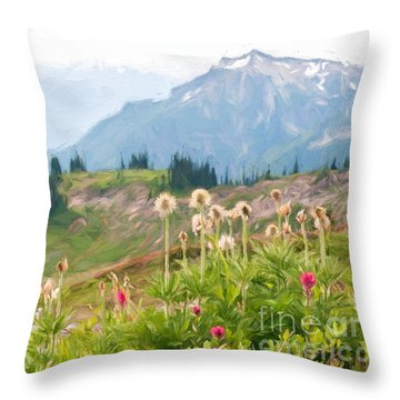 Wildflowers And The Tatoosh Throw Pillow