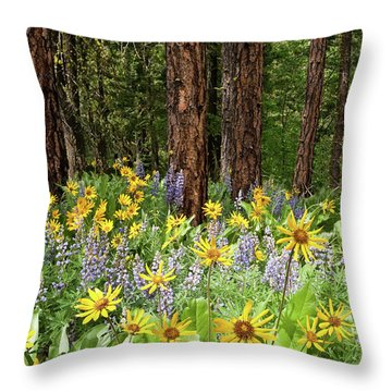 Balsamroot And Lupine In A Ponderosa Pine Forest Throw Pillow
