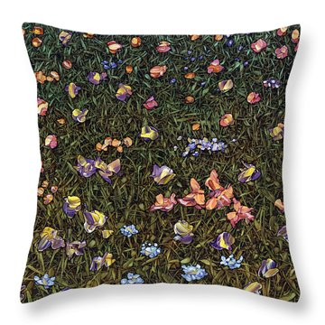 Throw Pillow featuring the painting Wildflowers by James W Johnson
